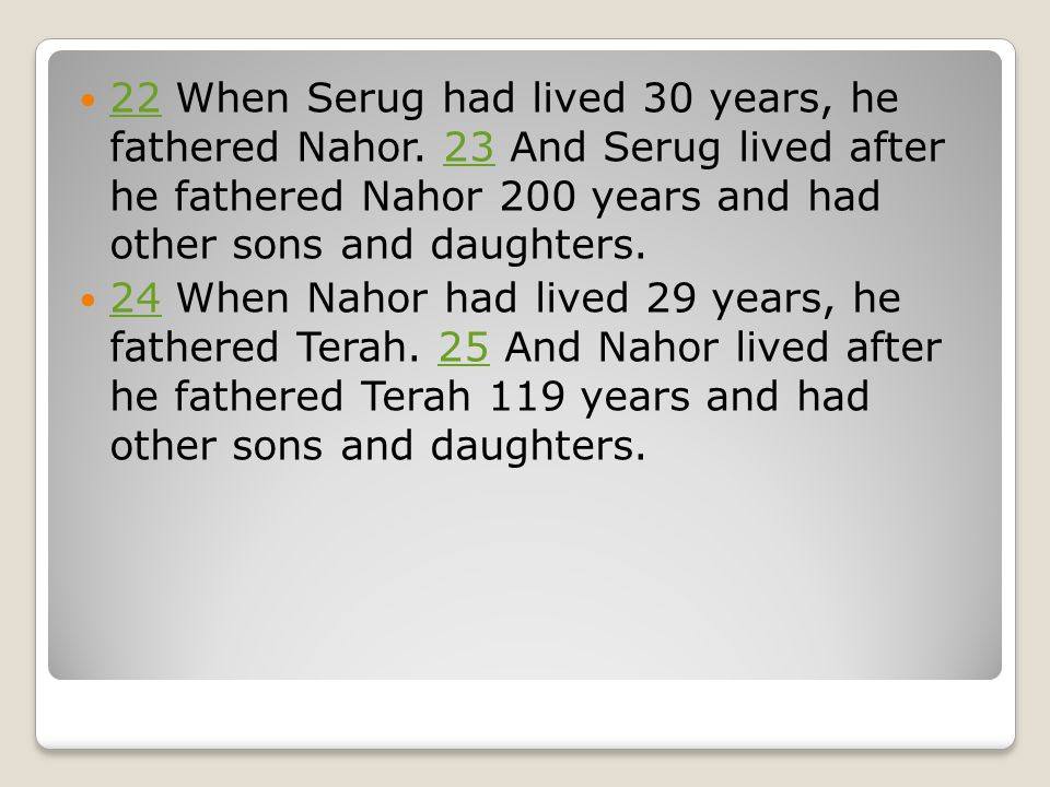 22 When Serug had lived 30 years, he fathered Nahor.