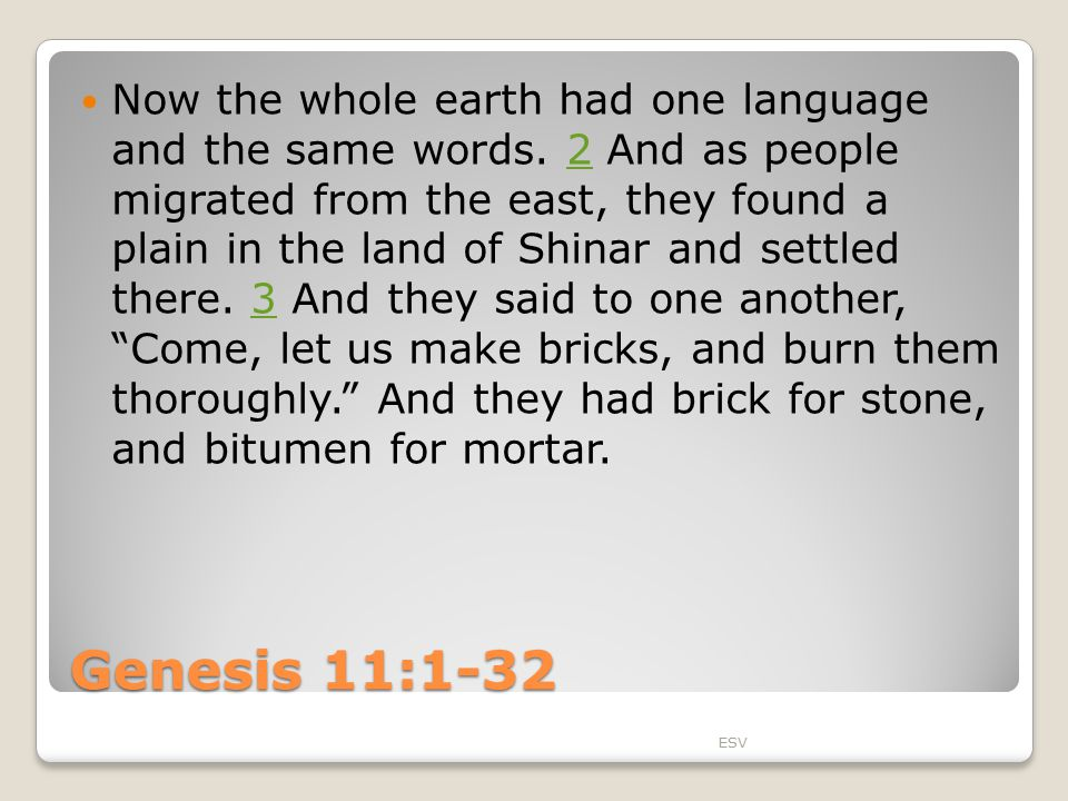 Genesis 11:1-32 Now the whole earth had one language and the same words.