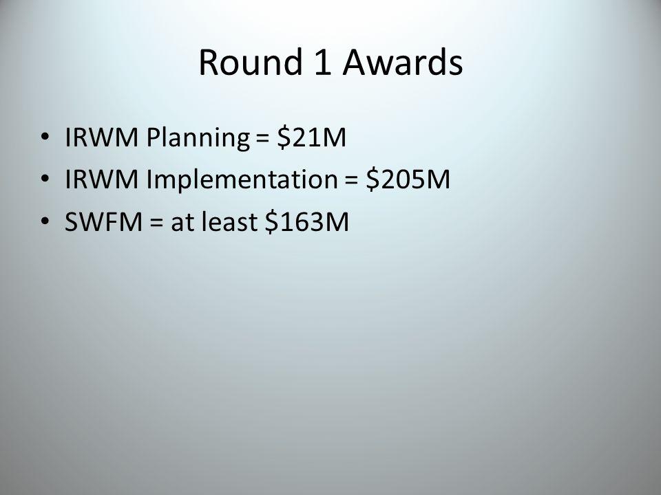 Round 1 Awards IRWM Planning = $21M IRWM Implementation = $205M SWFM = at least $163M