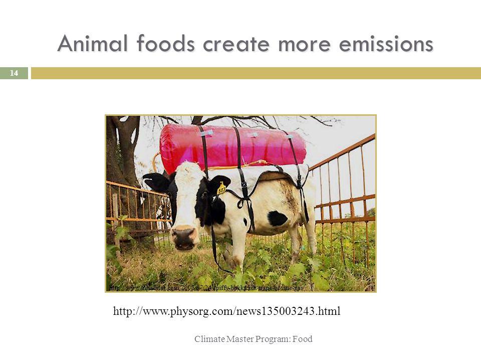 Animal foods create more emissions Climate Master Program: Food http://www.inhabitat.com/2008/07/24/spiffy-backpack-traps-bovine-gas/ http://www.physorg.com/news135003243.html 14