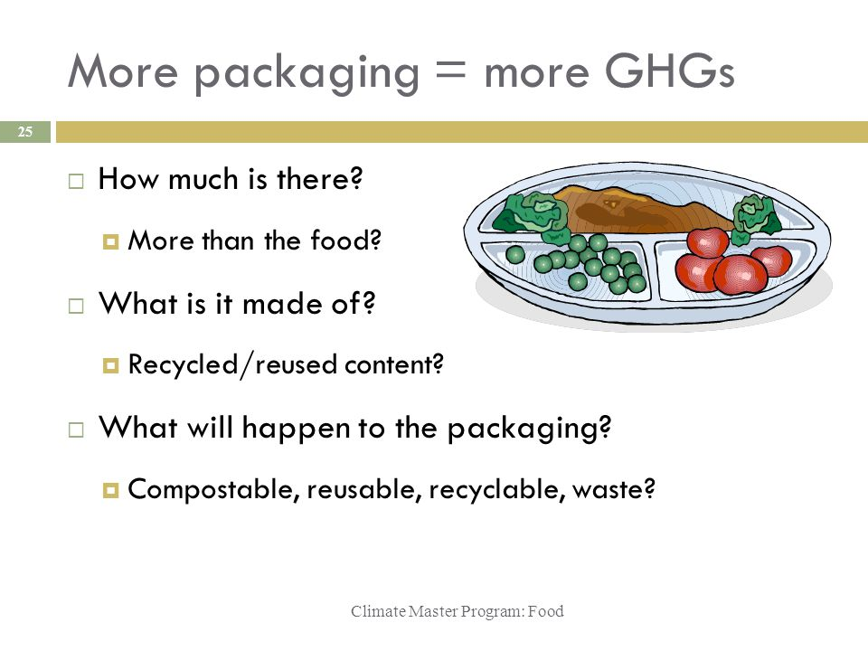 More packaging = more GHGs Climate Master Program: Food 25  How much is there?  More than the food?  What is it made of?  Recycled/reused content?