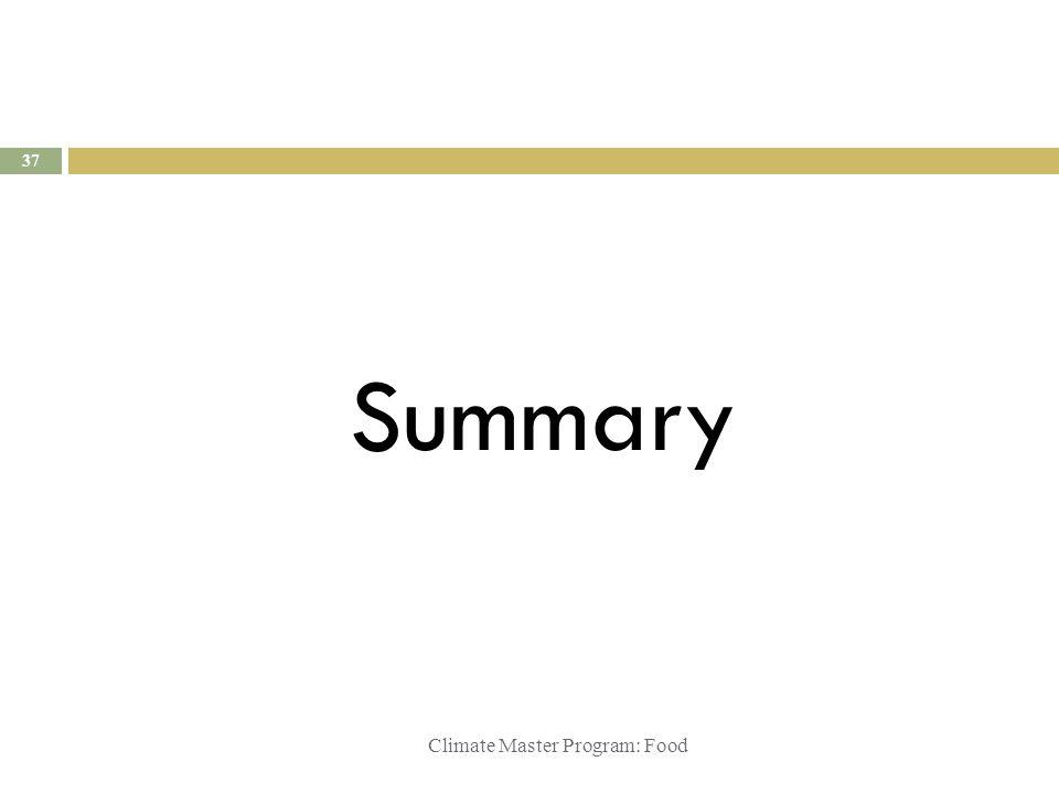 Climate Master Program: Food Summary 37