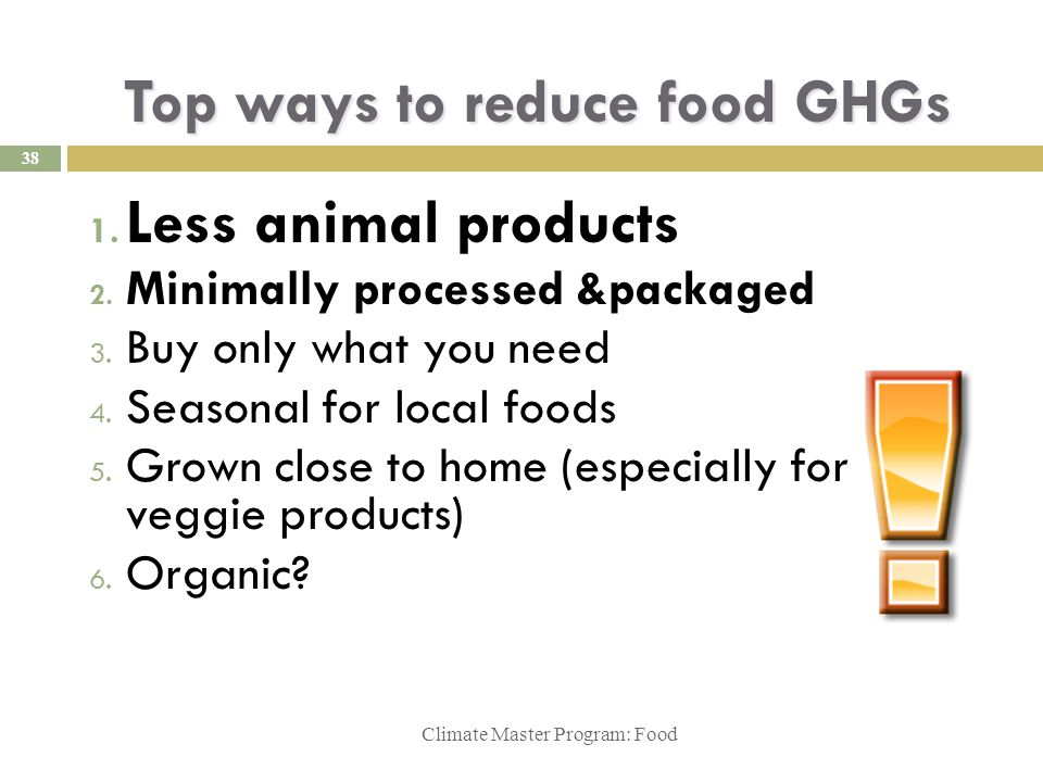 Top ways to reduce food GHGs Climate Master Program: Food 1.