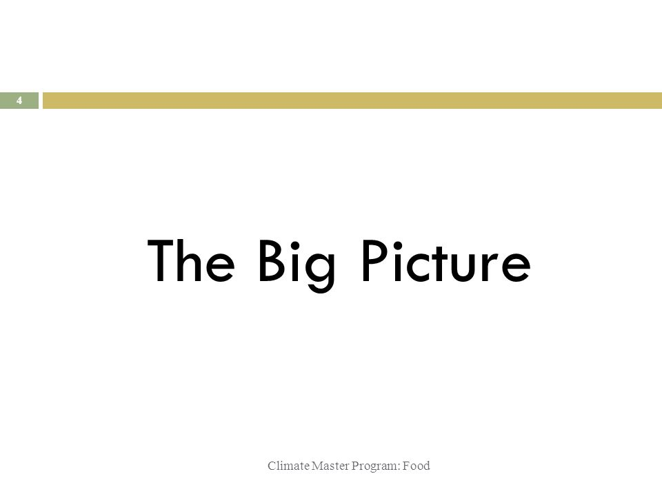 Climate Master Program: Food The Big Picture 4