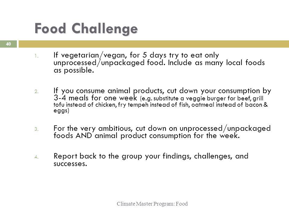 Food Challenge Climate Master Program: Food 1.