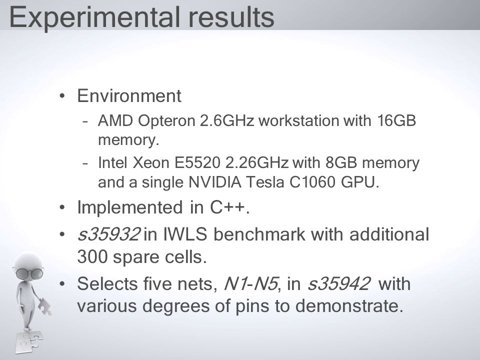 Experimental results Environment –AMD Opteron 2.6GHz workstation with 16GB memory.
