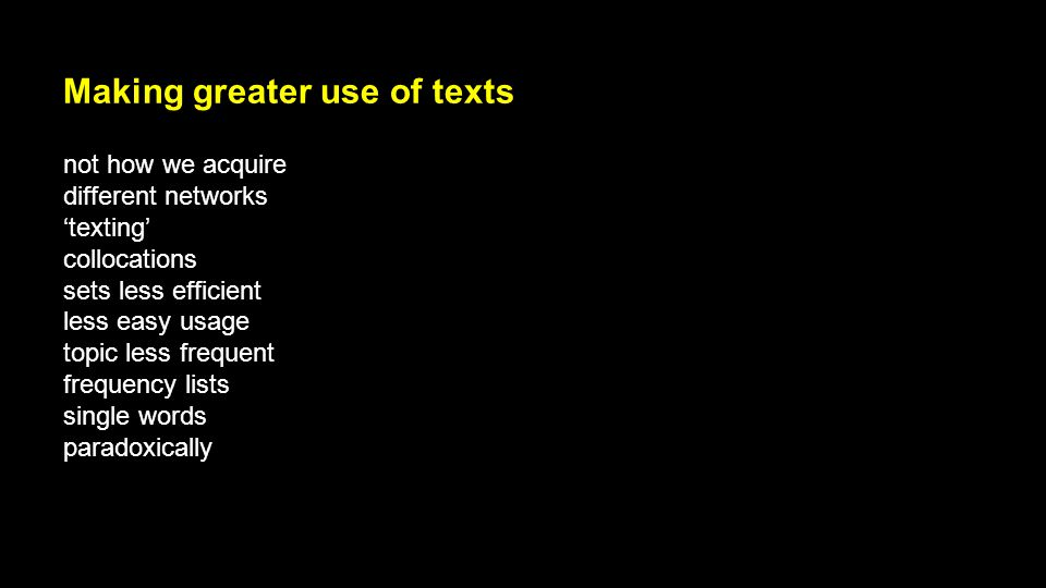 Making greater use of texts not how we acquire different networks 'texting' collocations sets less efficient less easy usage topic less frequent frequ