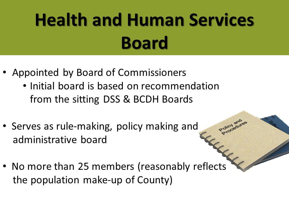 Appointed by Board of Commissioners Initial board is based on recommendation from the sitting DSS & BCDH Boards Serves as rule-making, policy making a