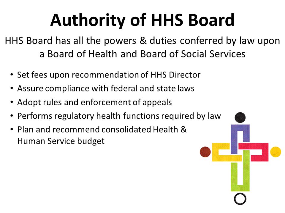 Authority of HHS Board HHS Board has all the powers & duties conferred by law upon a Board of Health and Board of Social Services Set fees upon recomm