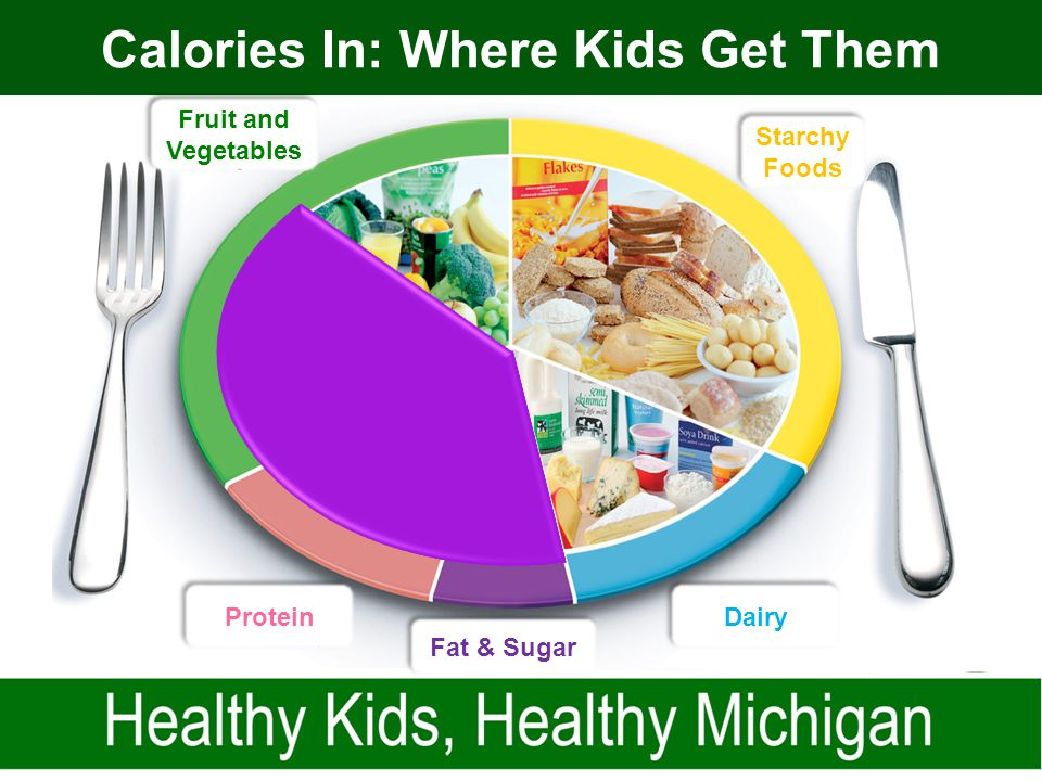 Calories In: Where Kids Get Them Dairy Starchy Foods Fruit and Vegetables Protein Fat & Sugar