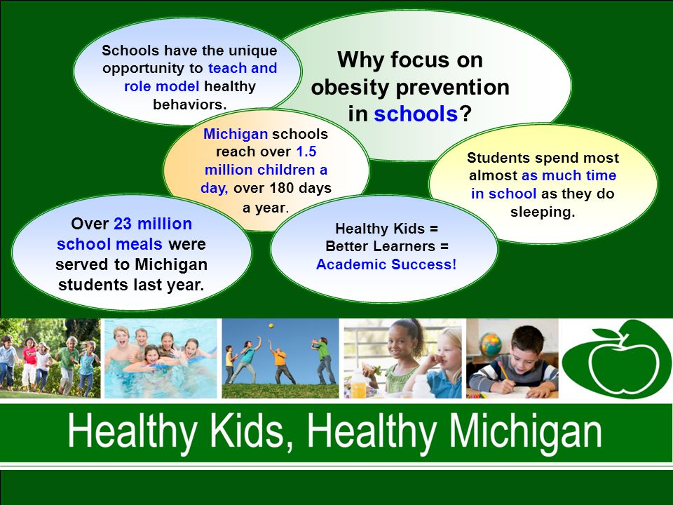 Advocates of Healthy Weight in Children Why focus on obesity prevention in schools? Michigan schools reach over 1.5 million children a day, over 180 d