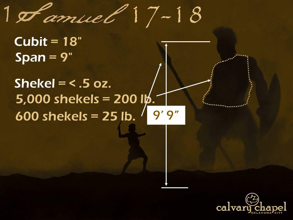 17-18 Cubit = 18 Span = 9 Shekel = <.5 oz. 5,000 shekels = 200 lb. 600 shekels = 25 lb. 9' 9