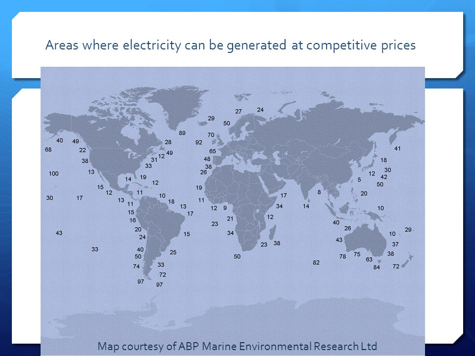 Areas where electricity can be generated at competitive prices Map courtesy of ABP Marine Environmental Research Ltd