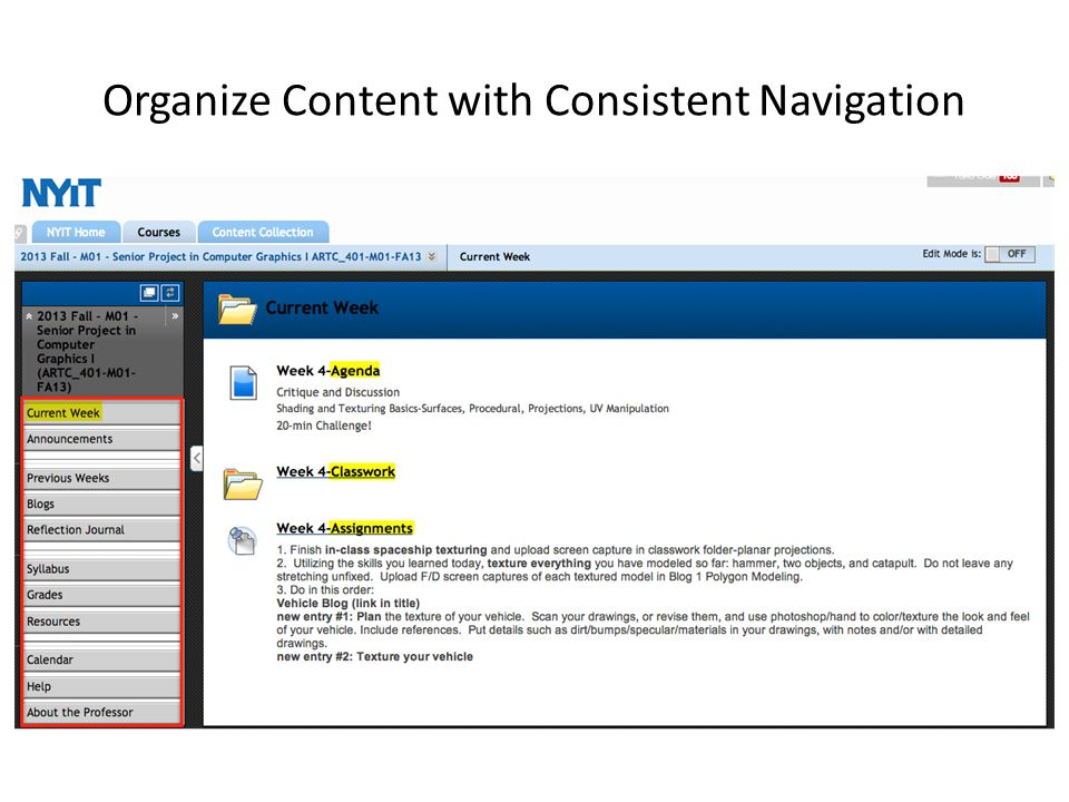 Organize Content with Consistent Navigation