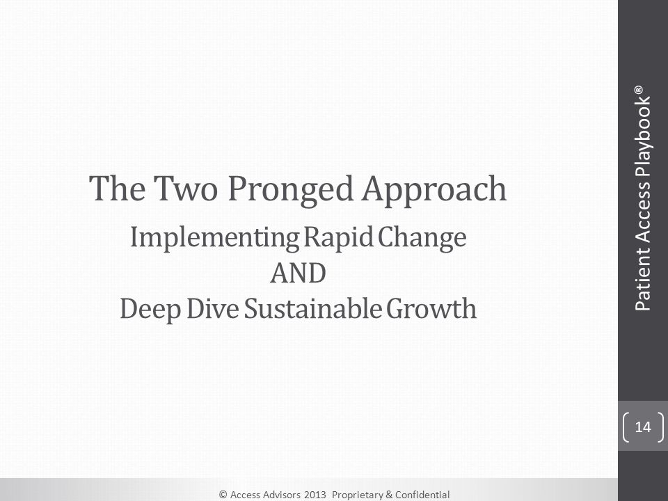 © Access Advisors 2013 Proprietary & Confidential The Two Pronged Approach 14 Patient Access Playbook® Implementing Rapid Change AND Deep Dive Sustainable Growth