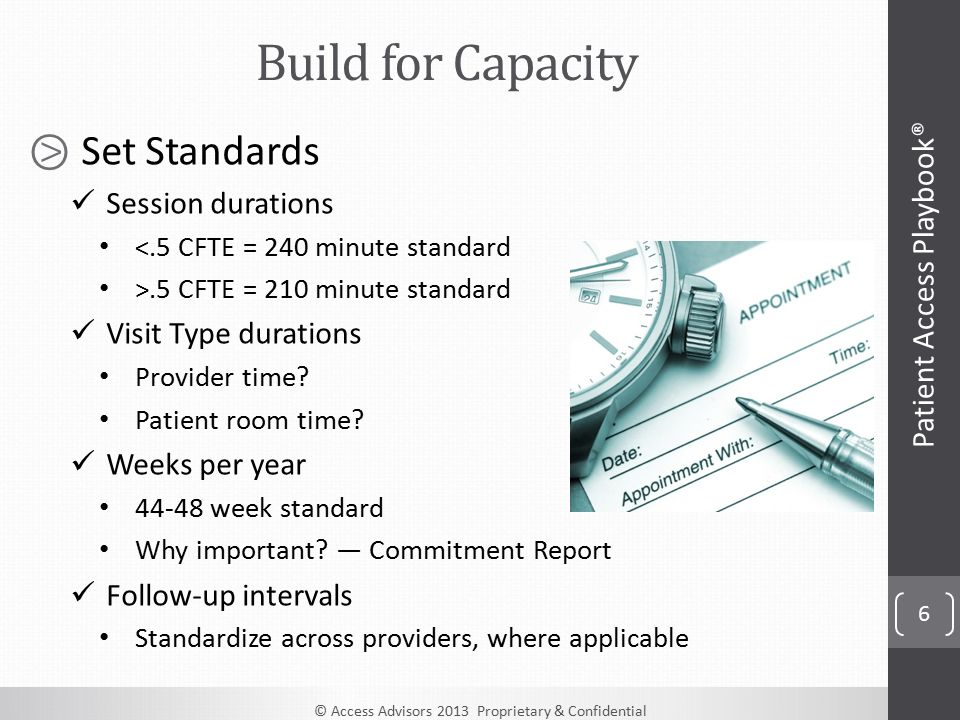 © Access Advisors 2013 Proprietary & Confidential 6 ⧁ Set Standards Session durations <.5 CFTE = 240 minute standard >.5 CFTE = 210 minute standard Visit Type durations Provider time.