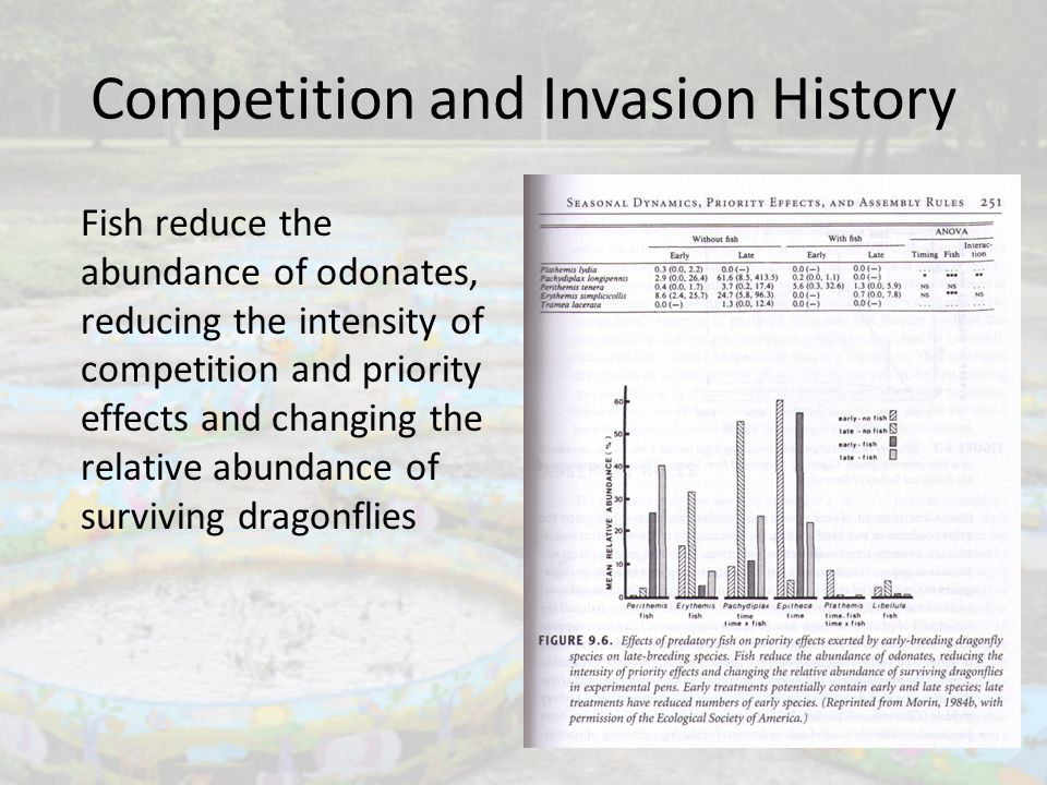 Competition and Invasion History Fish reduce the abundance of odonates, reducing the intensity of competition and priority effects and changing the re