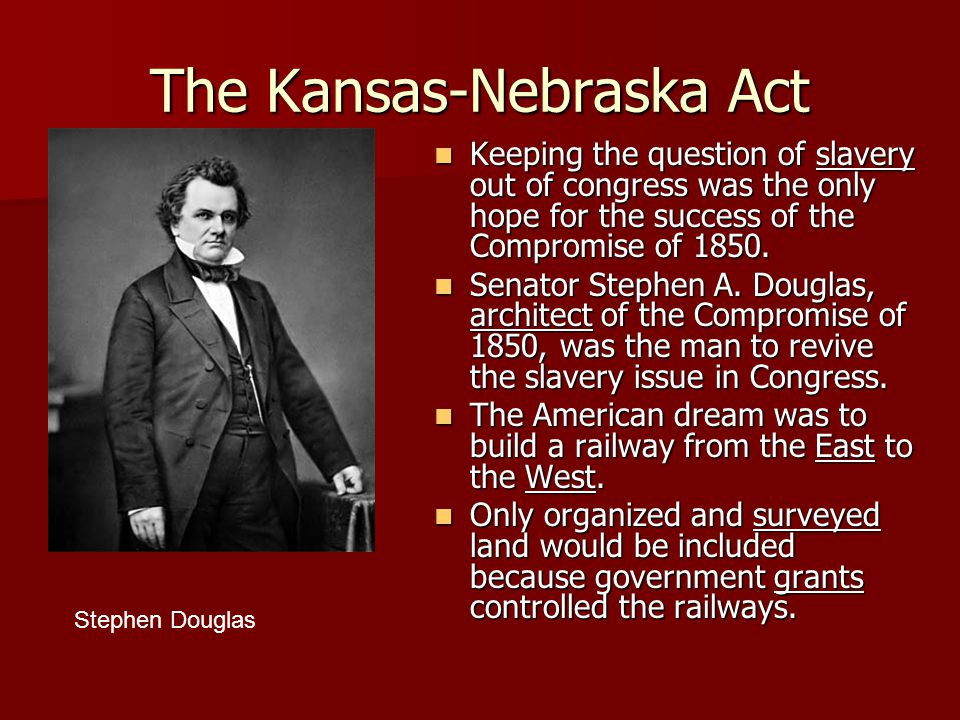 The Kansas-Nebraska Act Keeping the question of slavery out of congress was the only hope for the success of the Compromise of 1850.