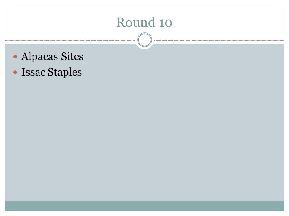 Round 10 Alpacas Sites Issac Staples