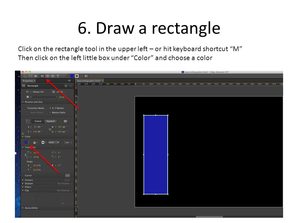 """6. Draw a rectangle Click on the rectangle tool in the upper left – or hit keyboard shortcut """"M"""" Then click on the left little box under """"Color"""" and c"""