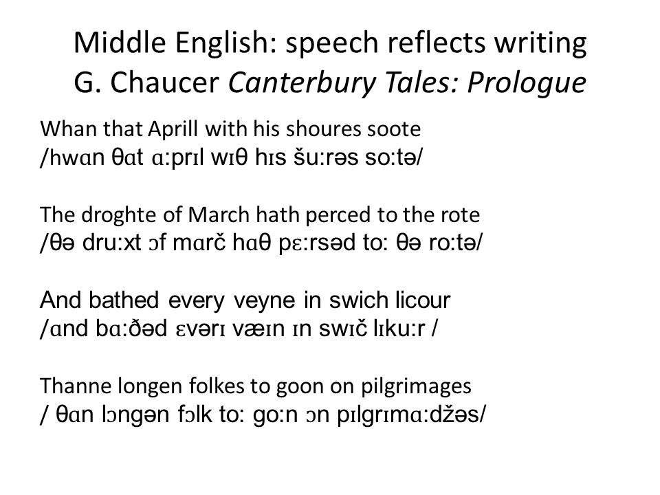 Middle English: speech reflects writing G.