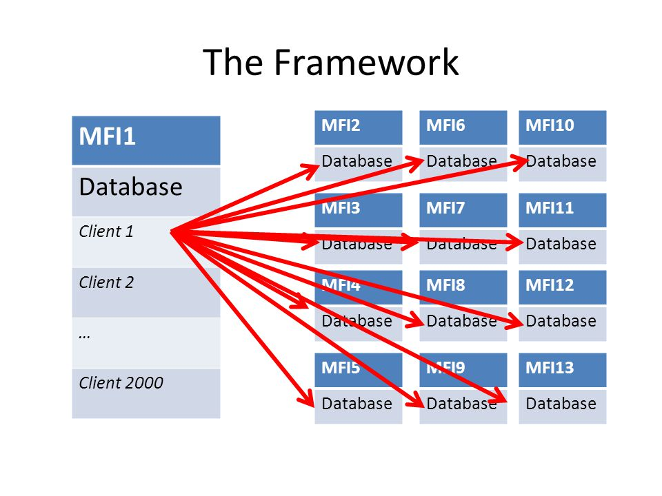 The Framework MFI1 Database Client 1 Client 2 … Client 2000 MFI2 Database MFI3 Database MFI4 Database MFI5 Database MFI6 Database MFI7 Database MFI8 Database MFI9 Database MFI10 Database MFI11 Database MFI12 Database MFI13 Database