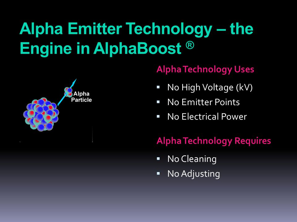 Alpha Emitter Technology – the Engine in AlphaBoost ® Alpha Technology Uses  No High Voltage (kV)  No Emitter Points  No Electrical Power Alpha Technology Requires  No Cleaning  No Adjusting
