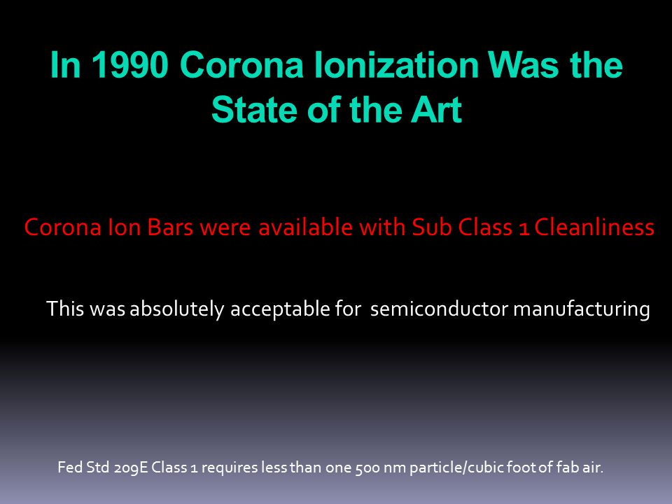 The CD Compared to 500 nm Particles 500 nm 1995 2000 2005 2020 2010 CD circa 1990 Ionizer Performance can no longer be judged by Fed Std 209E.