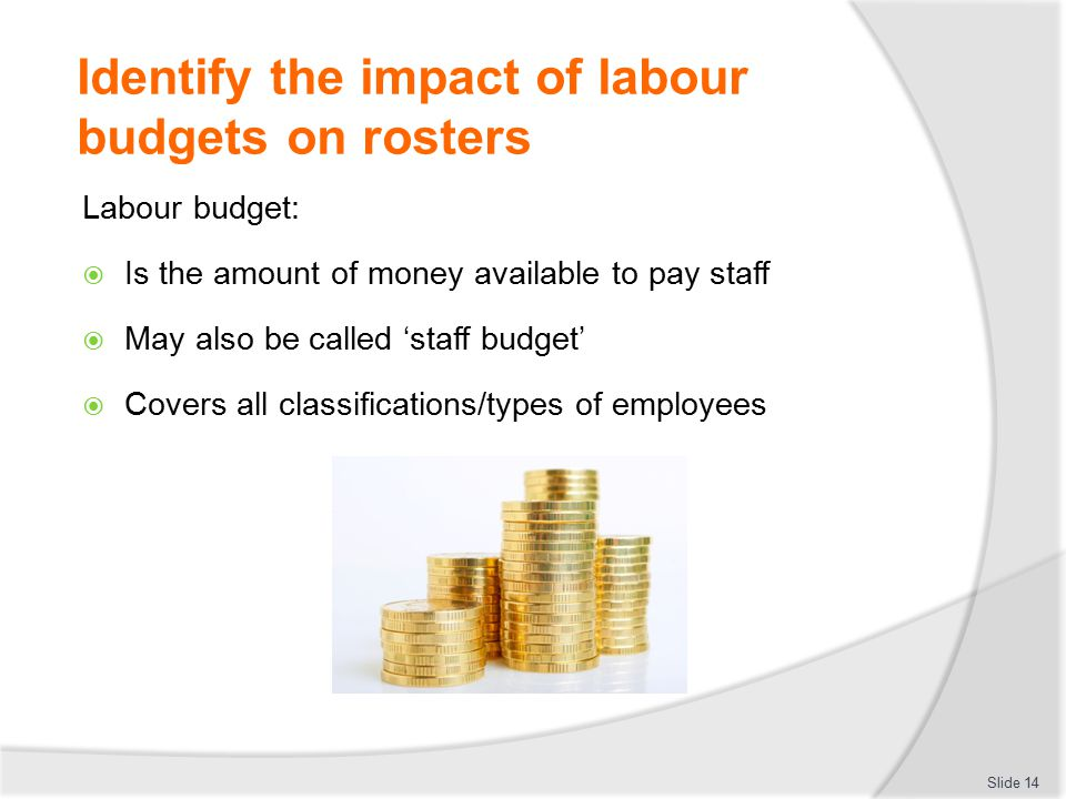 Identify the impact of labour budgets on rosters Labour budget:  Is the amount of money available to pay staff  May also be called 'staff budget' 