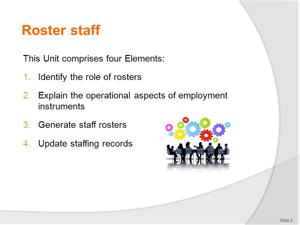 Differentiate between roster formats The paper-based format option:  Produced by hand on paper  A template may be used as the model/basis  Roster is photocopied for distribution  Inexpensive  No special training required Slide 23