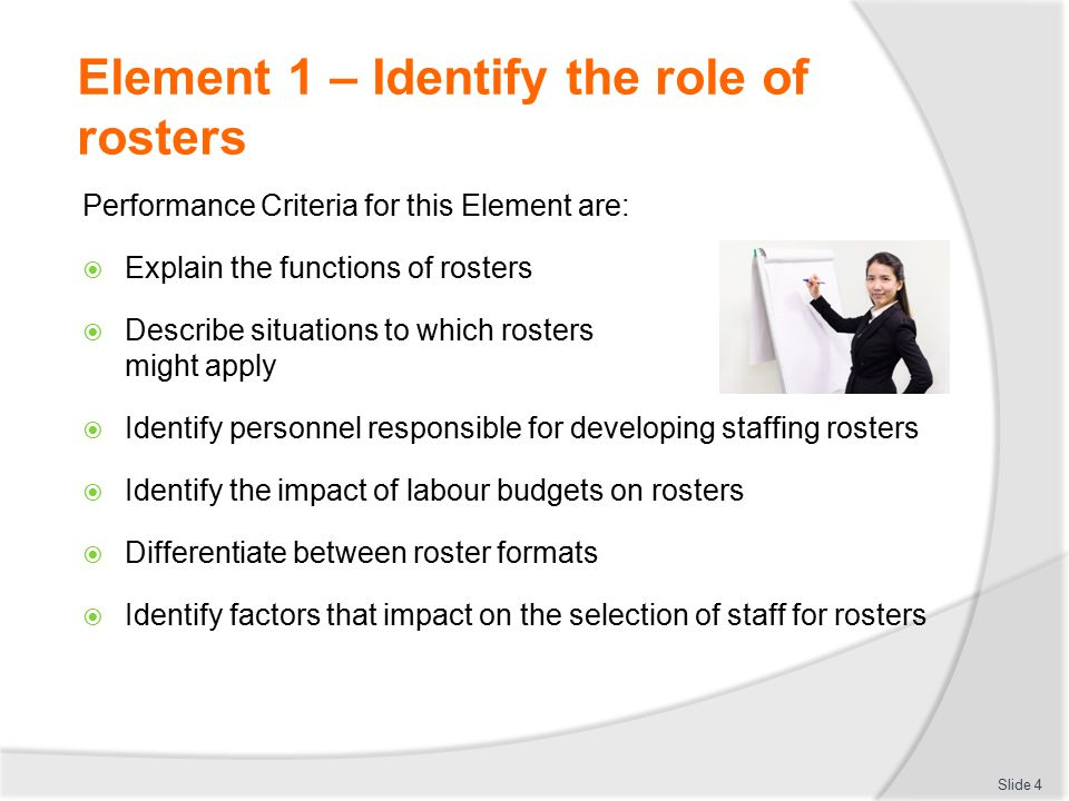 Element 2 – Explain the operational aspects of employment instruments  Identify meal and break entitlements  Identify allowance entitlements  Describe legislated requirements that apply to staff rosters  Identify requirements that apply to specific work-related incidents and situations Slide 35