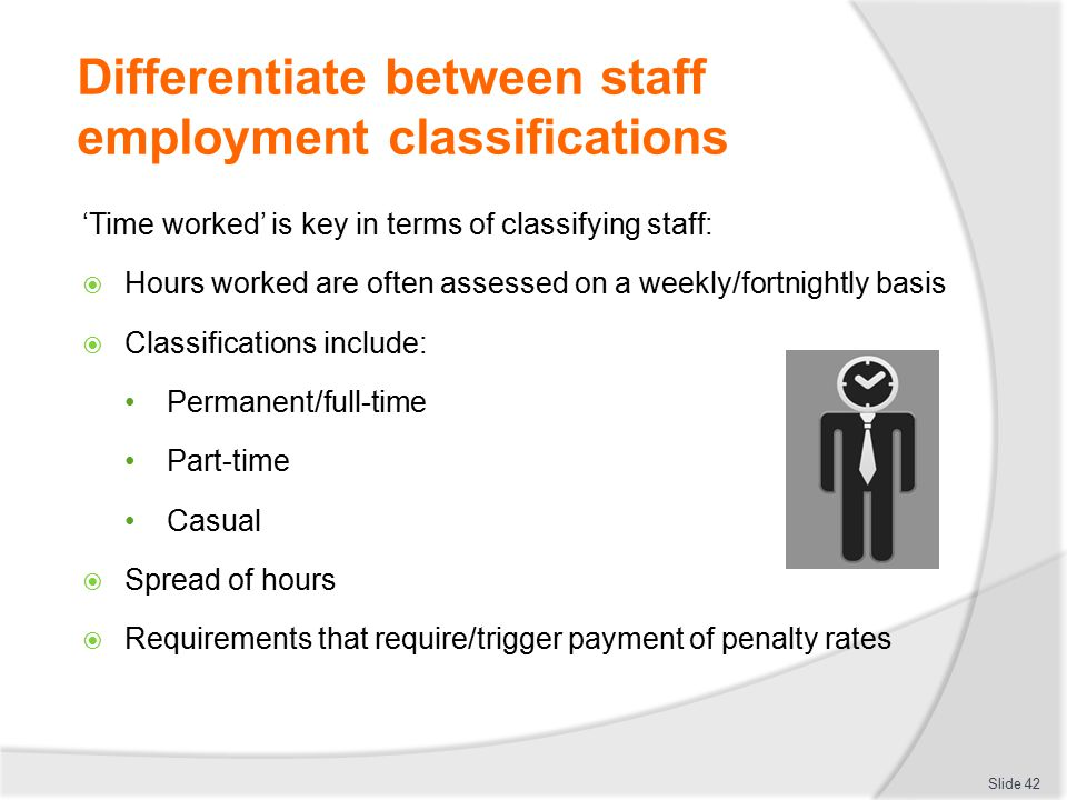 Differentiate between staff employment classifications 'Time worked' is key in terms of classifying staff:  Hours worked are often assessed on a week
