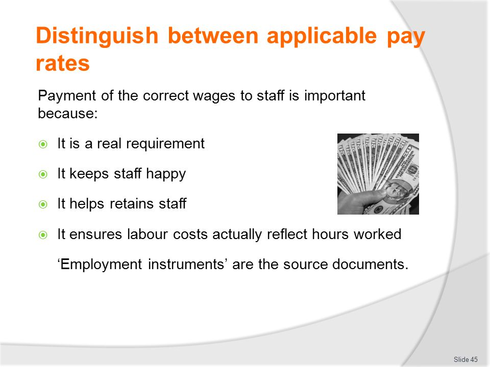 Distinguish between applicable pay rates Payment of the correct wages to staff is important because:  It is a real requirement  It keeps staff happy