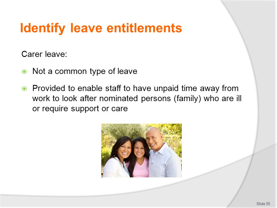 Identify leave entitlements Carer leave:  Not a common type of leave  Provided to enable staff to have unpaid time away from work to look after nomi