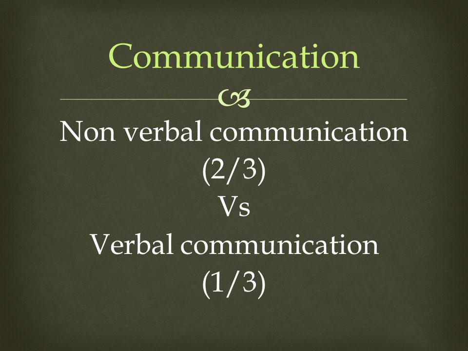  Communication Non verbal communication (2/3) Vs Verbal communication (1/3)