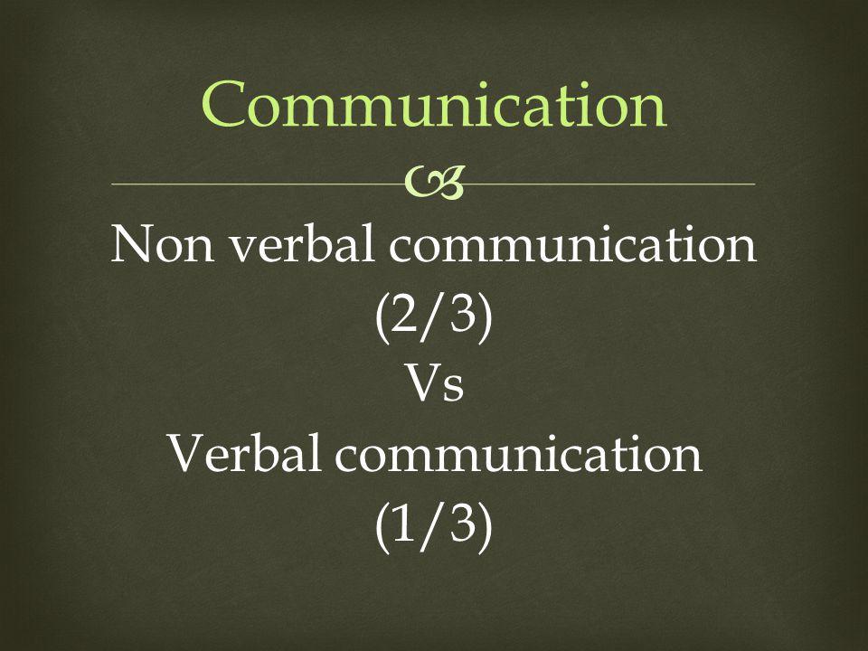  Communication Non verbal communication (2/3) Vs Verbal communication (1/3)