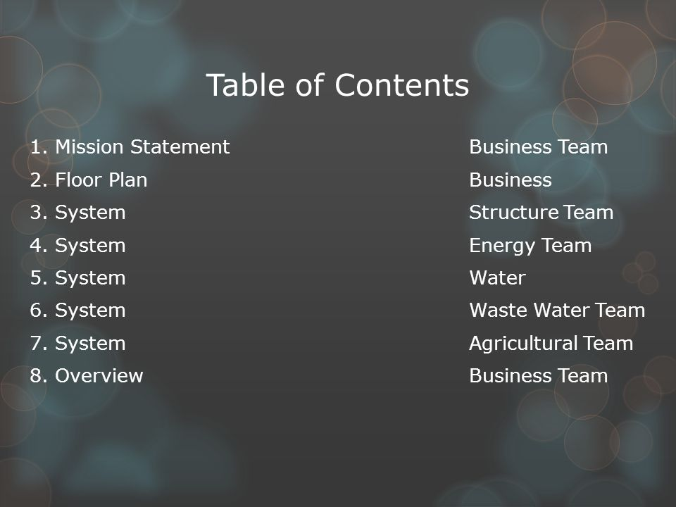 Table of Contents 1. Mission StatementBusiness Team 2.