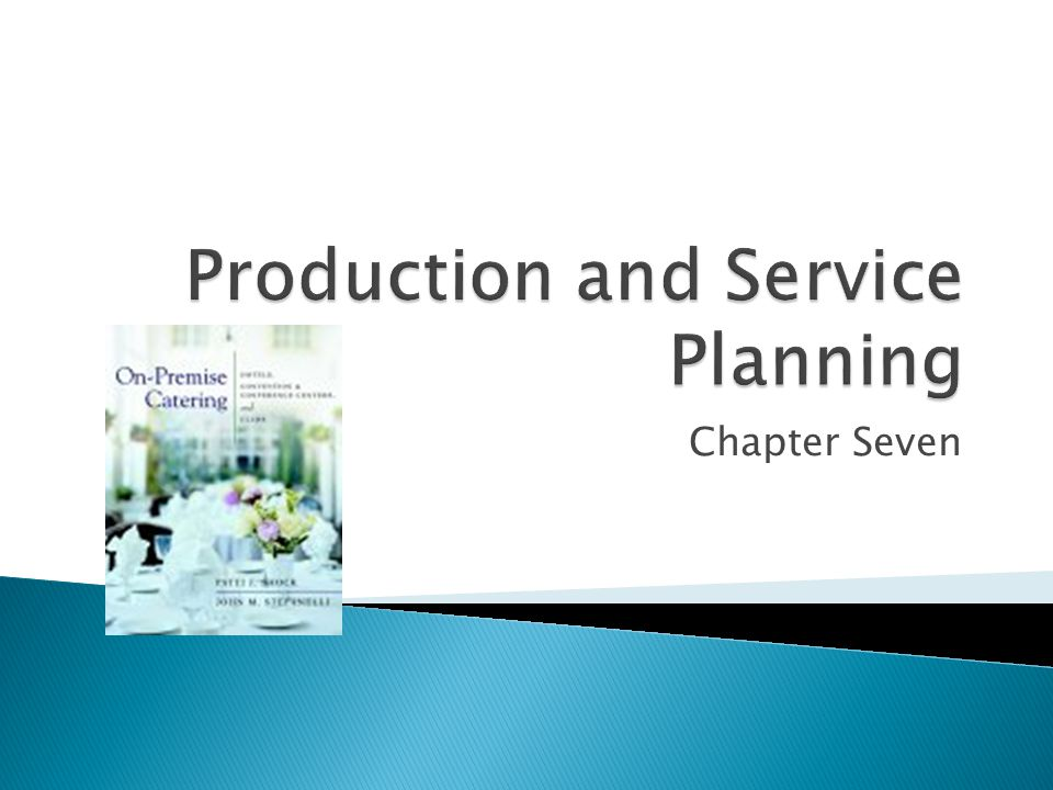  A production plan lists the types and amounts of finished foods and beverages needed, when they must be ready, and when they should be produced  The chef and banquet manager must have copies of the banquet event orders (BEOs) so that they can incorporate them into the daily production and work schedules.