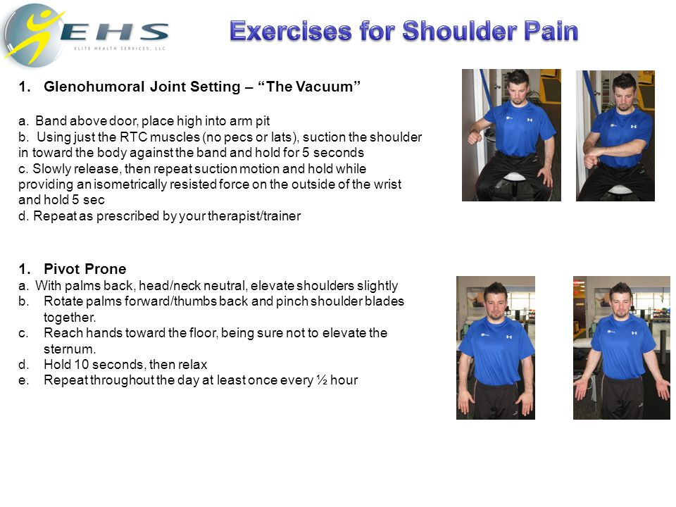 """1.Glenohumoral Joint Setting – """"The Vacuum"""" a.Band above door, place high into arm pit b. Using just the RTC muscles (no pecs or lats), suction the sh"""