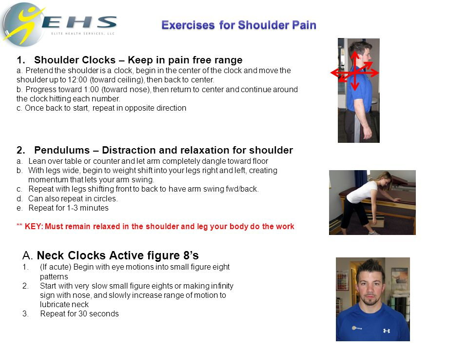 1.Shoulder Clocks – Keep in pain free range a.