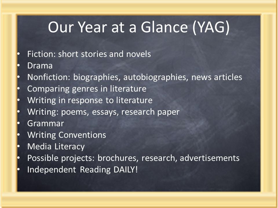 Our Year at a Glance (YAG) Fiction: short stories and novels Drama Nonfiction: biographies, autobiographies, news articles Comparing genres in literature Writing in response to literature Writing: poems, essays, research paper Grammar Writing Conventions Media Literacy Possible projects: brochures, research, advertisements Independent Reading DAILY!