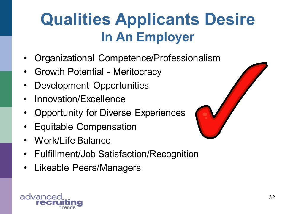 Qualities Applicants Desire In An Employer Organizational Competence/Professionalism Growth Potential - Meritocracy Development Opportunities Innovation/Excellence Opportunity for Diverse Experiences Equitable Compensation Work/Life Balance Fulfillment/Job Satisfaction/Recognition Likeable Peers/Managers 32