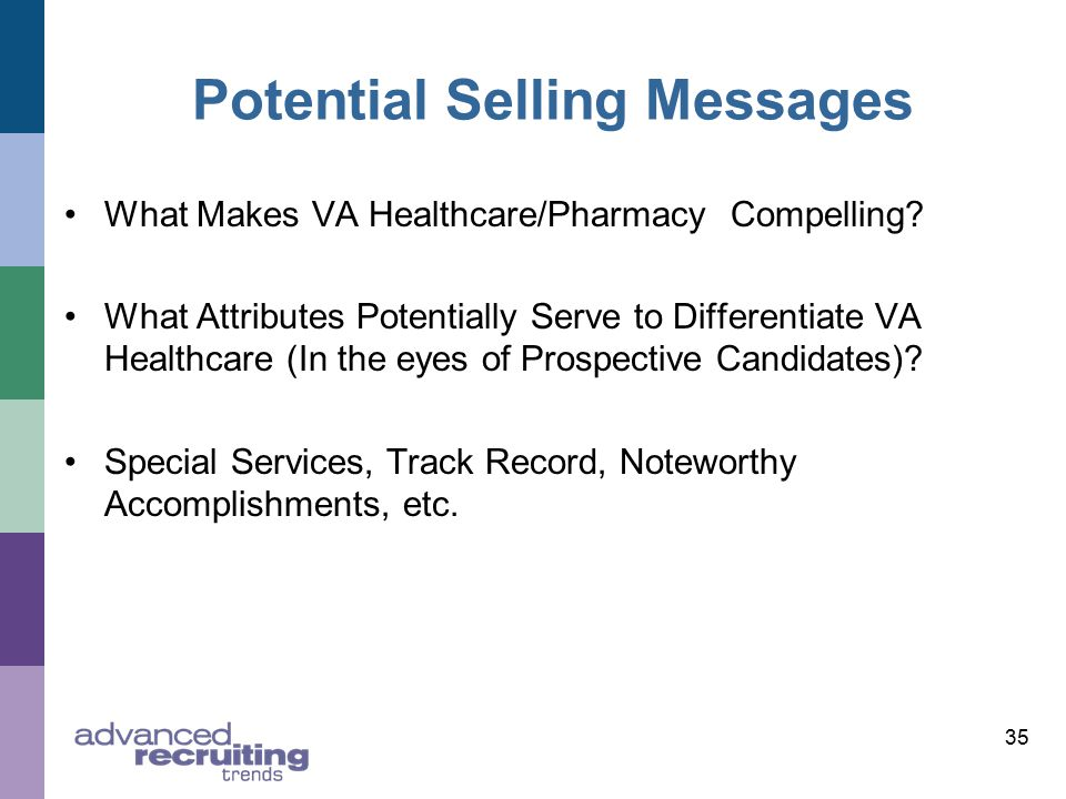 35 Potential Selling Messages What Makes VA Healthcare/Pharmacy Compelling.
