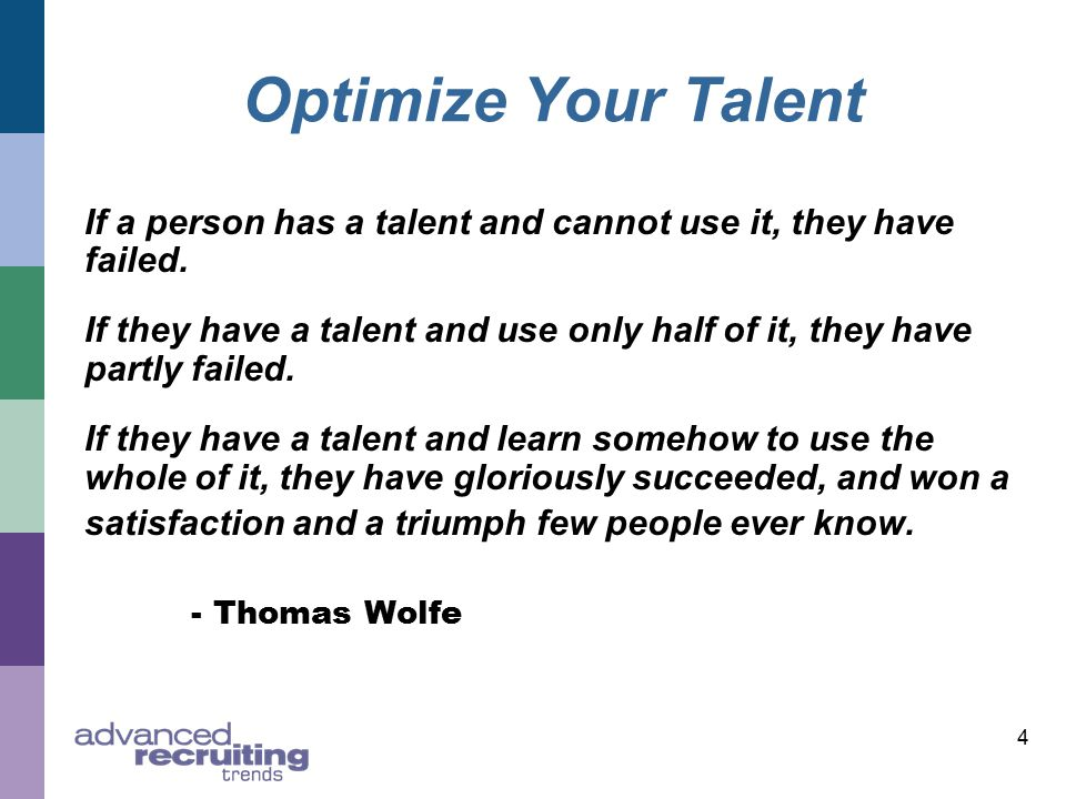 4 Optimize Your Talent If a person has a talent and cannot use it, they have failed.