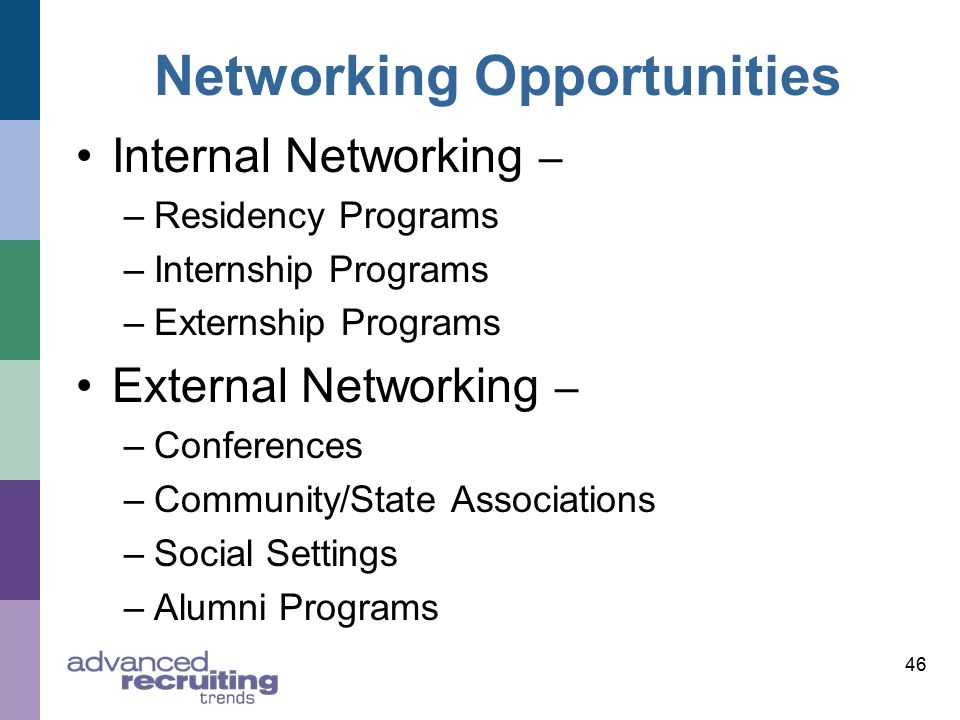 Networking Opportunities Internal Networking – –Residency Programs –Internship Programs –Externship Programs External Networking – –Conferences –Community/State Associations –Social Settings –Alumni Programs 46