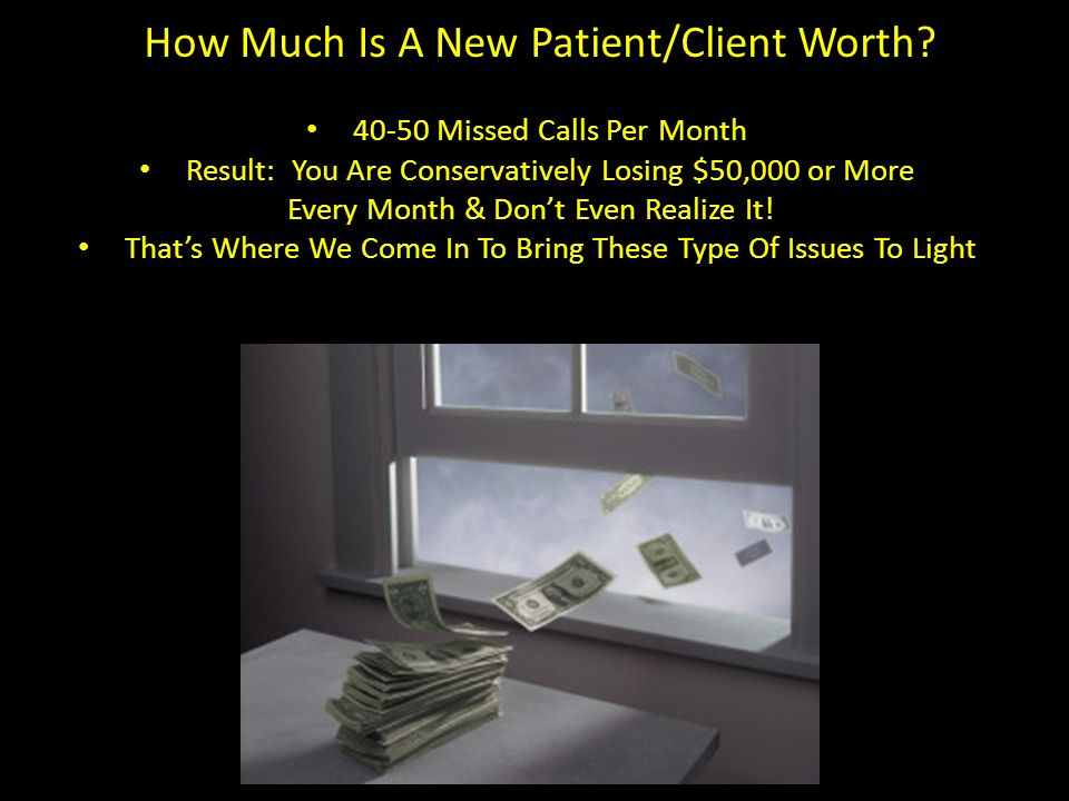 Missed, Unanswered, Get Busy Signal Average Office Misses 40-50 Potential New Patient Calls/Month