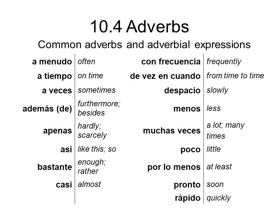 10.4 Adverbs ¡ATENCIÓN.