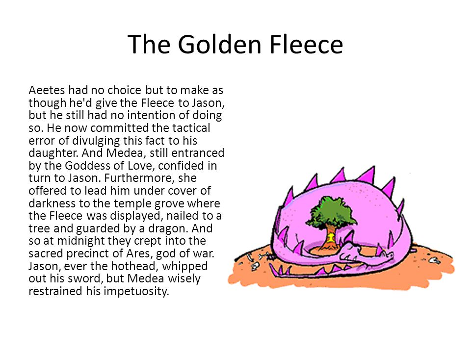 The Golden Fleece Aeetes had no choice but to make as though he d give the Fleece to Jason, but he still had no intention of doing so.