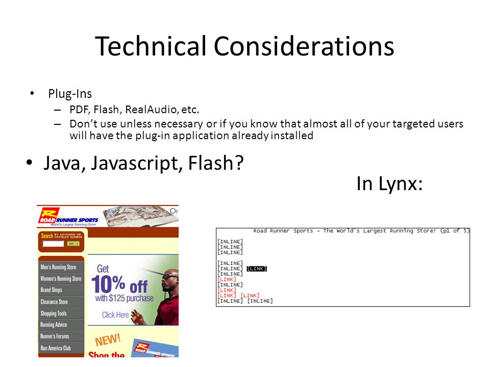 Technical Considerations Plug-Ins – PDF, Flash, RealAudio, etc.