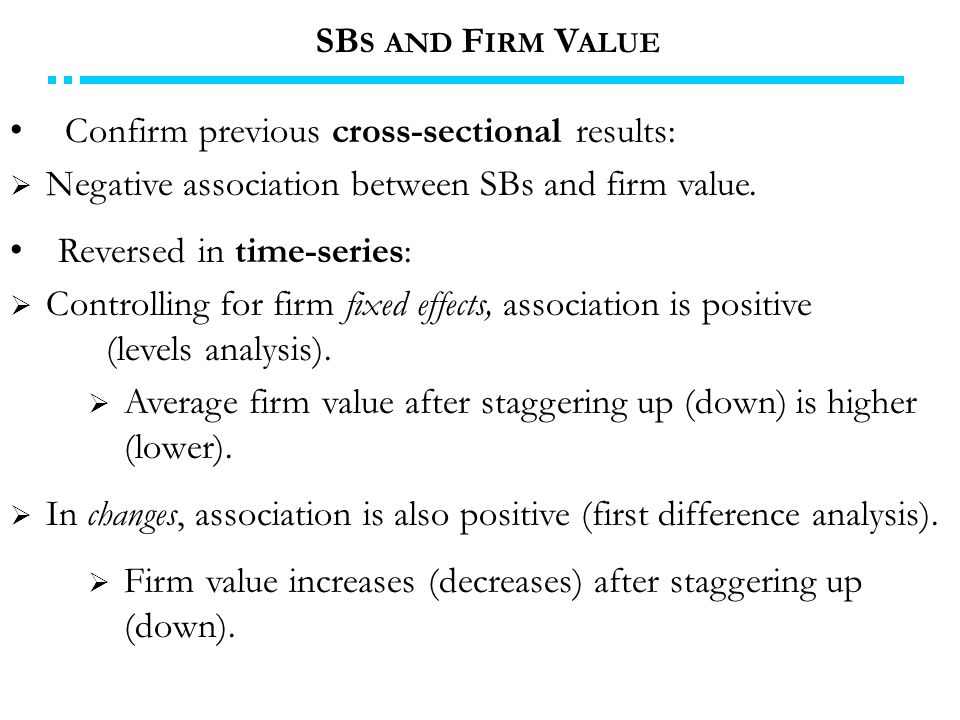 Confirm previous cross-sectional results:  Negative association between SBs and firm value.
